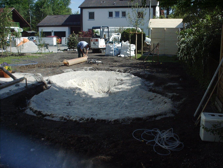2 Sand verteilen zum Schutz der Folie