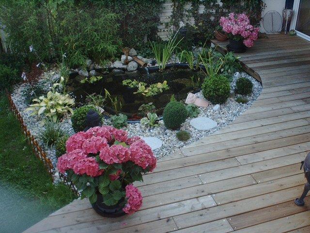 Teich an Terrasse